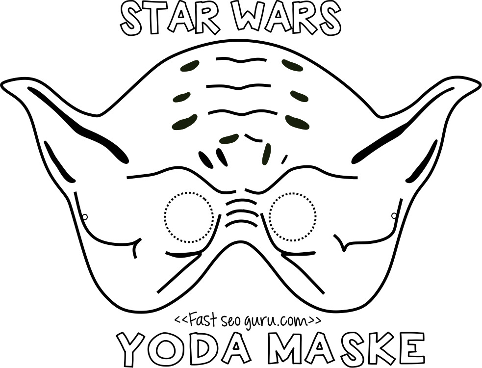 Printable yoda mask template for kids.Free print