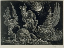 "thefugitivesaint:Bruno Goldschmitt (1881-1964), 'Daniels Traumgesicht' (Daniel's Dream), from the portfolio ""Die Bibel"" (The Bible), 1910-20"