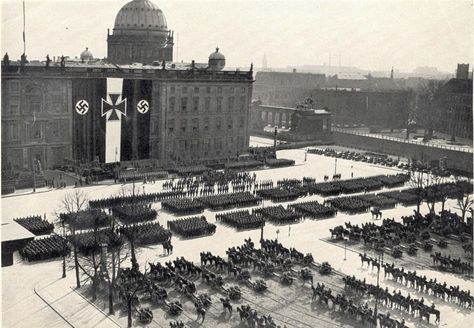 Berlin, Germany, 1935, Military units on parade in a square, on the day of the declaration of rearmament.