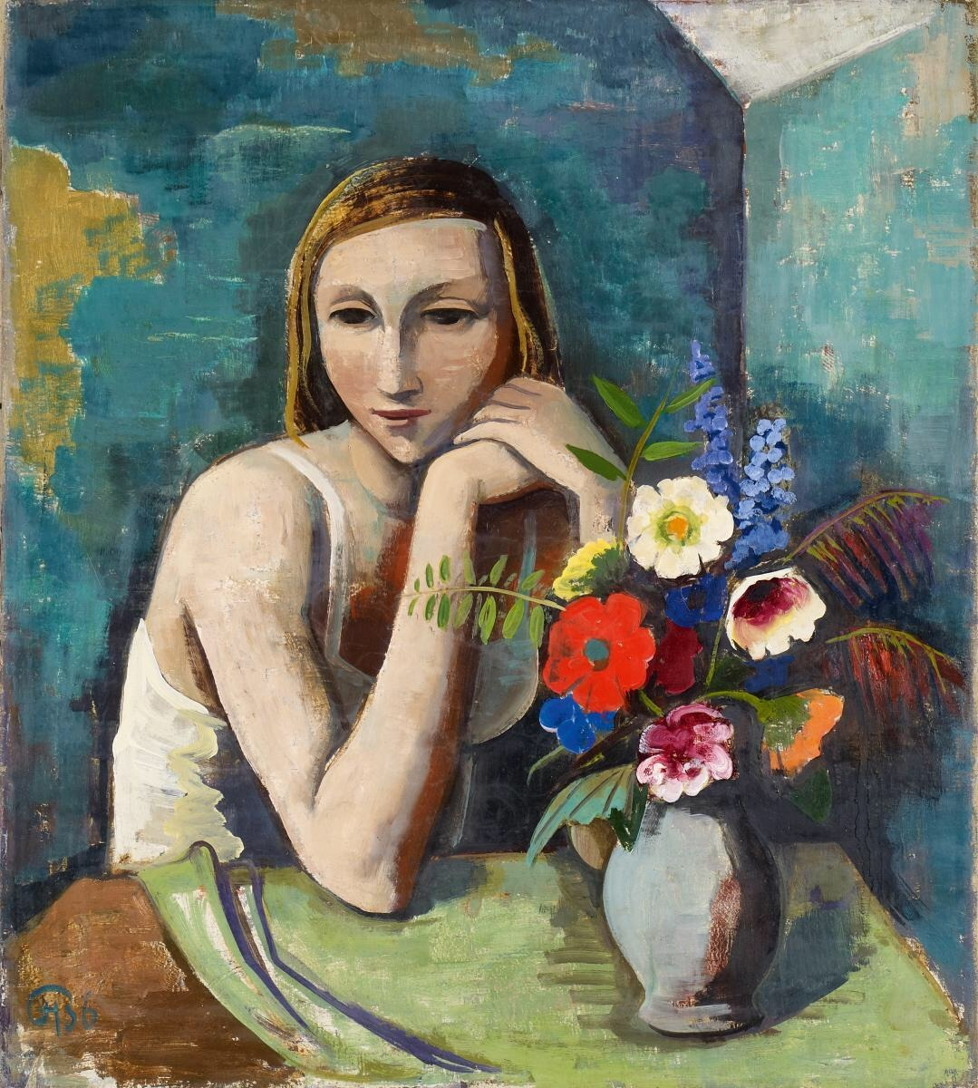 "terminusantequem: ""Karl Hofer (German, 1878-1955), Girl with Flowers, 1936. Oil on canvas, 85.30 x 75.50 cm """