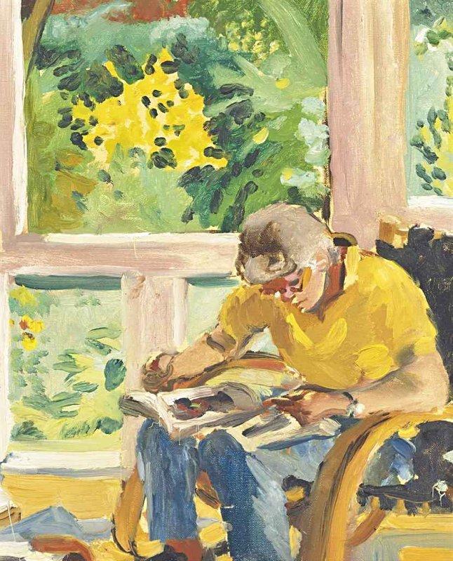 """lilithsplace:""""Kitaj in his Studio, 1989 - Sandra Fisher (1947–1994)"""""""