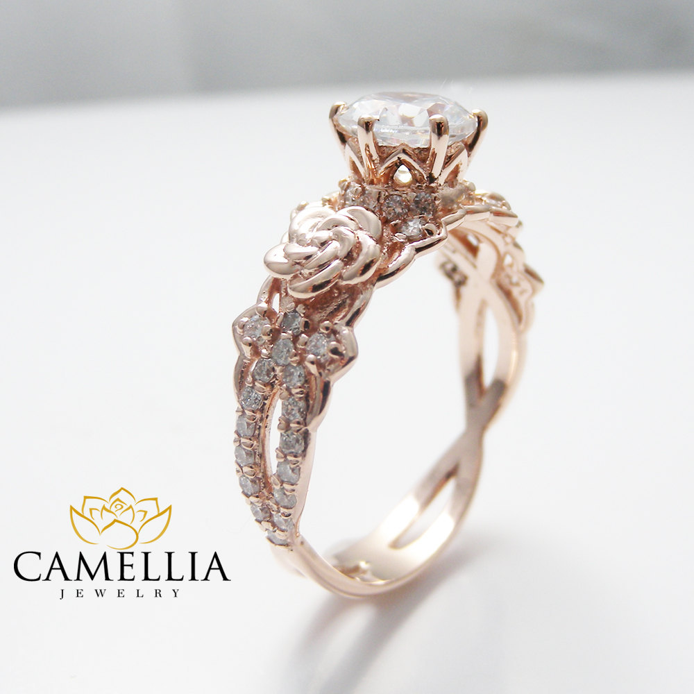 Camellia Jewelry  14K Rose Gold Engagement Ring Round