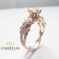 Camellia Jewelry  14K Rose Gold Engagement Ring Round ...