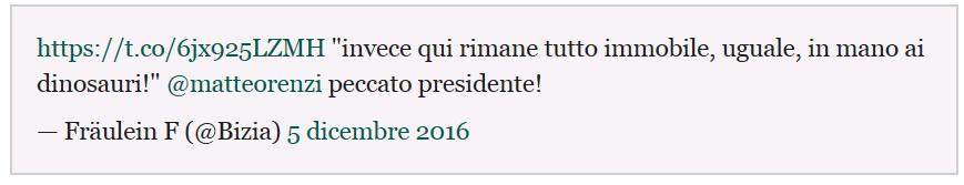L'ultimo amaro tweet sull'Italia immobile e in mano ai dinosauri. Fabrizia Di Lorenzo, la ragazza vittima dell'attentato ai mercati di Natale di Berlino, affida a una celebre scena di La meglio gioventù il suo commento sull'esito referendario....