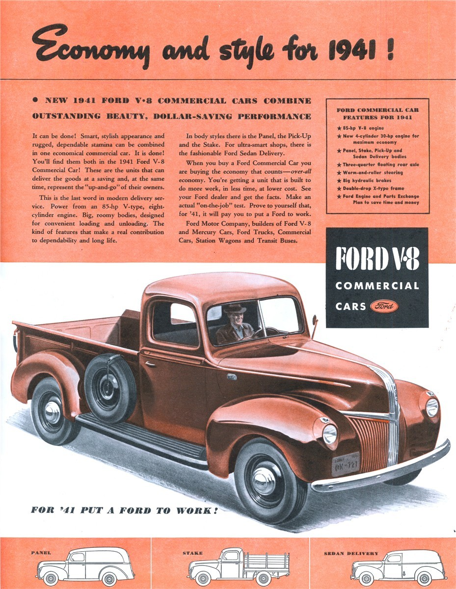 Economy And Style For 1941 Ford Panel Delivery Truck Commercial Cars Published In The Saturday Evening Post November 16 1940