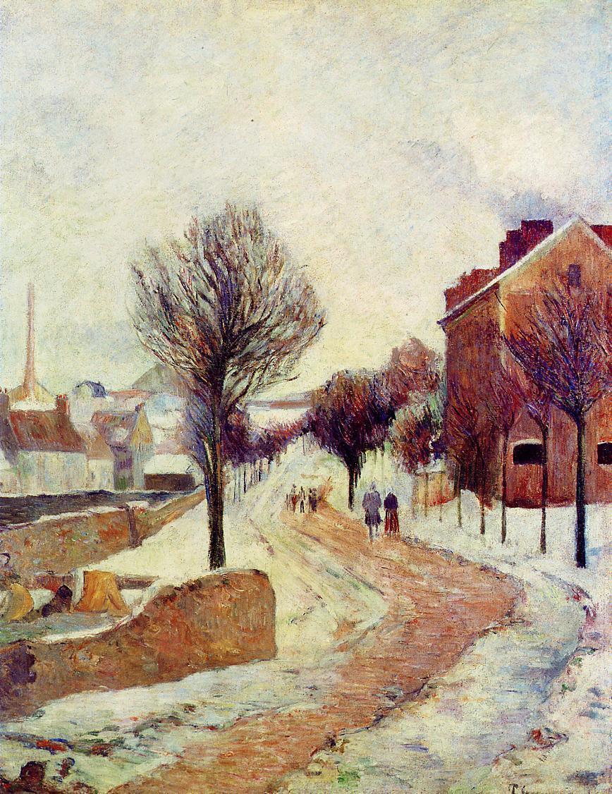 """artist-gauguin:"""" Suburb under snow by Paul GauguinMedium: oil on canvas"""""""