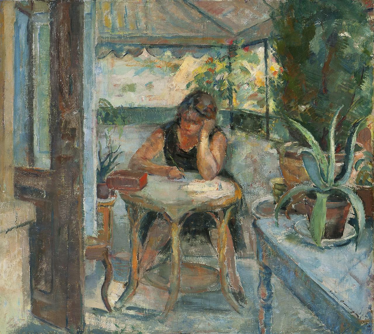 """huariqueje:"""" Female in Interior - Søren Onsager 1930Norwegian, 1878-1946Oil on canvas"""""""