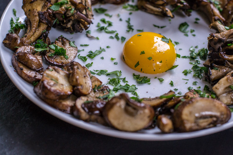 Wild mushrooms with egg yolk.