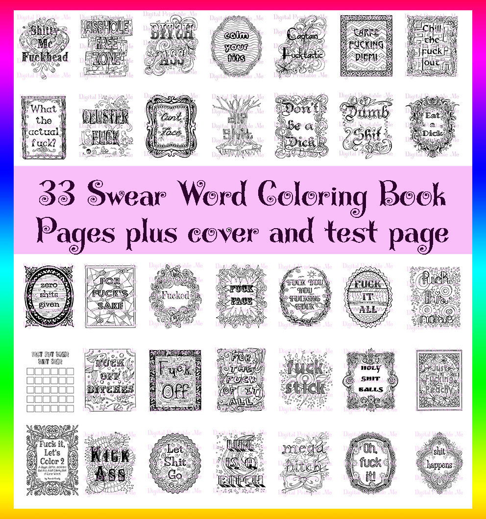 Swear word coloring pages etsy -  Post Swear Word Coloring Book Printable Instant