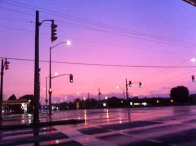 I just drove past this intersection and it's pouring rain and just look at how eerily beautiful it looks