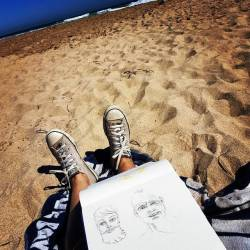 Good Friday is putting out the nice weather! So I'm sketching some crazy looking dudes whilst the hubby catches some waves at secret harbour aka surf beach. #doodles #sketch #drawing #journal #perthcreatives #perthartist #pencildrawing #art #surfing #beachlife #goodfriday #goodvibes #outlawsurfboards #perthisok #amazing_wa (at Secret Harbour Surf Beach)