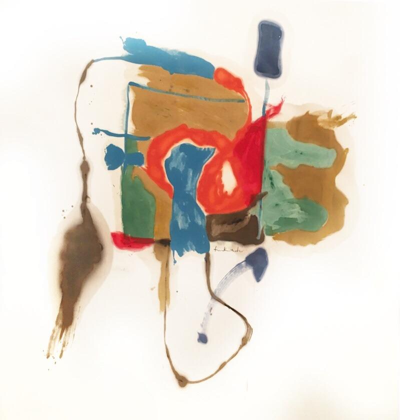 """kundst: """"Helen Frankenthaler (US 1928-2011) Blue form in a scene (1961) Oil on canvas (234 x 241 cm) """""""