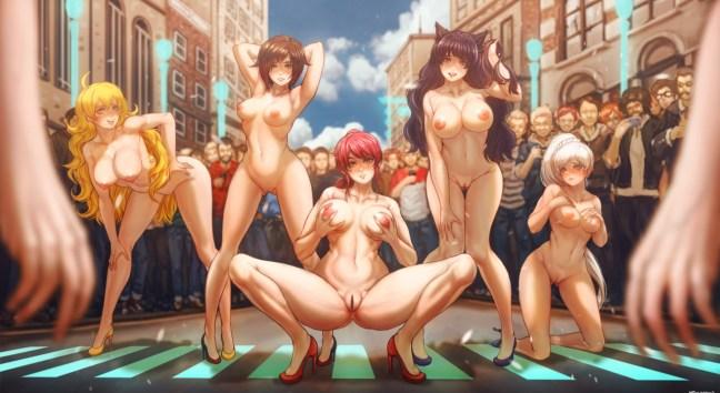 Ruby, Weiss, Blake, Yang, and Pyrrha showing Off Downtown [RWBY] (ku-on)