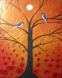 art canvas depository  poppy canvas wall art love birds ...