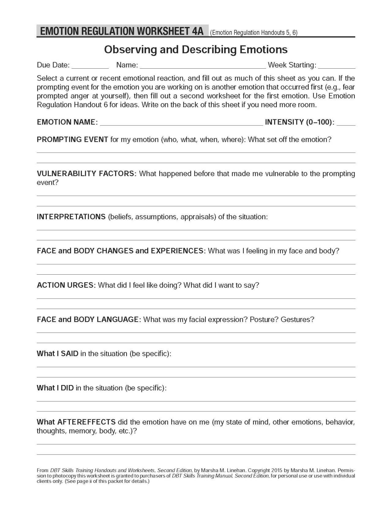 Self Regulation Worksheets Worksheets For School