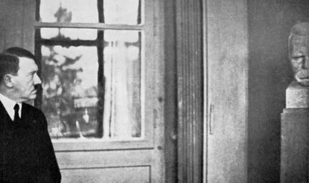 Hitler beside a bust of Nietzsche in Weimar, 1934 via reddit – History
