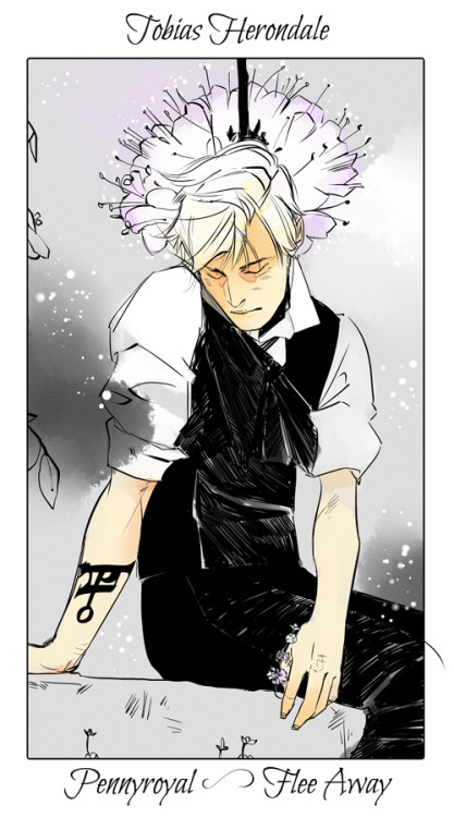 "I hope you guys have been enjoying The Lost Herondale! Cassandra Jean has been wonderfully kind enough to draw a flower card of poor Tobias. Pennyroyal: ""Flee away."""
