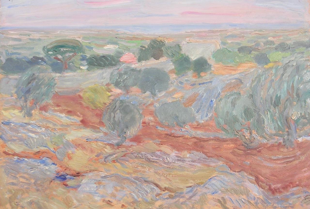 """terminusantequem: """"Cosimo Sponziello (Italian, 1915-2005), Paesaggio Pugliese, 1956. Oil on canvas, 50 x 70 cm """""""