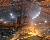 Tapping the blast furnace #6 at Novolipetsk steel ...