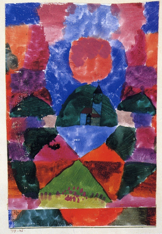 """artist-klee:"""" A pressure of Tegernsee via Paul KleeSize: 24.13x31.75 cmMedium: watercolor"""""""