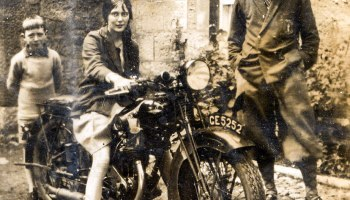 Girl rides on motorbike 1955 history girl on motorbike ca 1920s fandeluxe Gallery