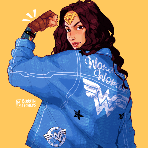 watched wonder woman last night and i really enjoyed it!! here's some fanart of her wearing the jacket i wore to the cinema bc why not 💪✨