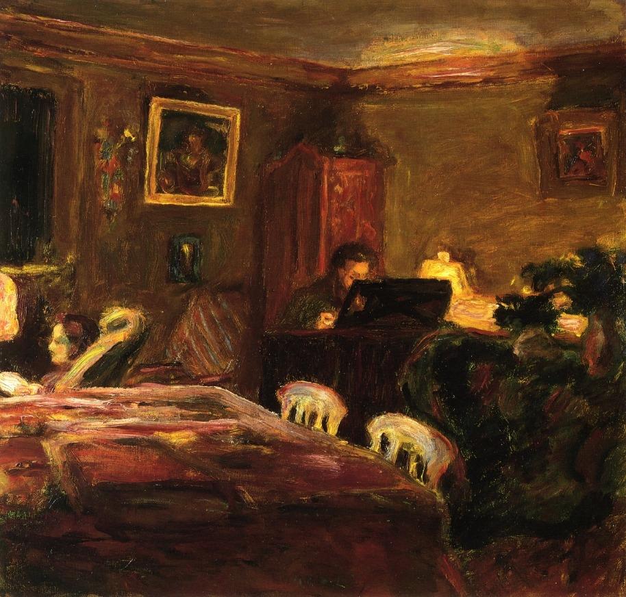 "artist-bonnard: "" Claude Terrasse at the Piano via Pierre Bonnard Size: 47.5x45 cm Medium: oil on canvas"""