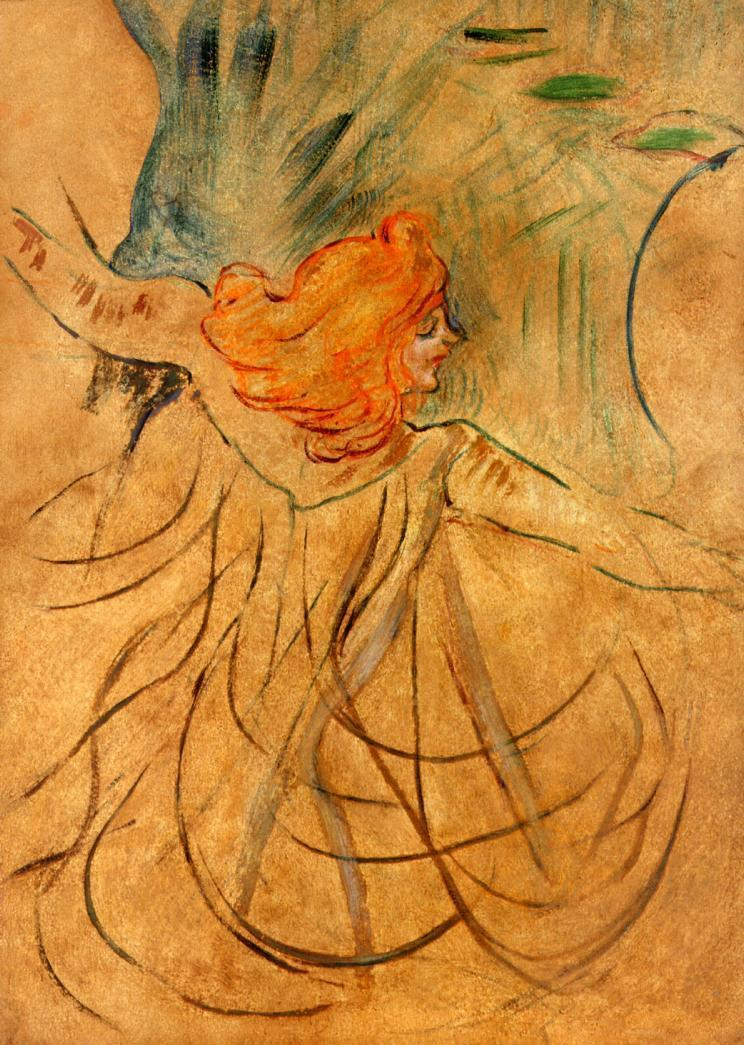 "artist-lautrec: "" At the Music Hall Loie Fuller via Henri de Toulouse-Lautrec Size: 46x32 cm Medium: oil on cardboard"""