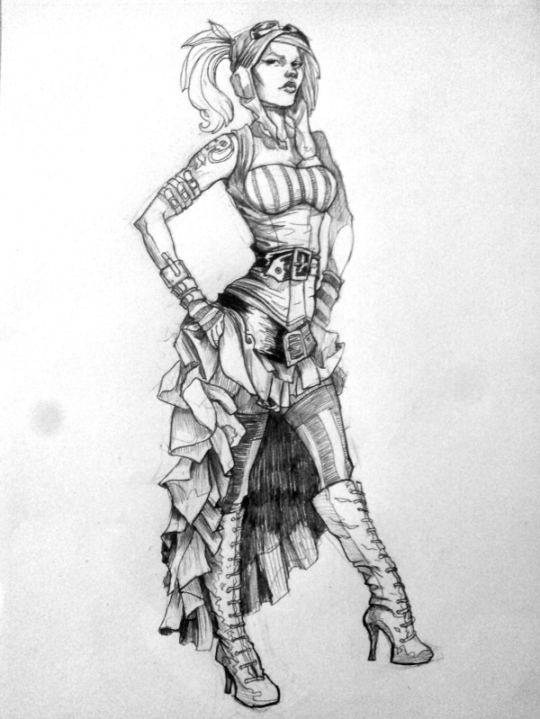 Steampunk Girl Drawing