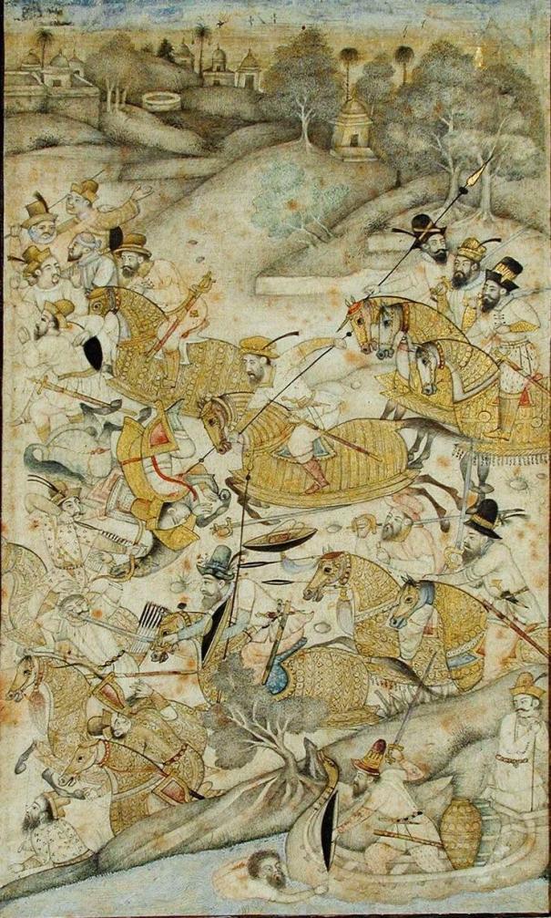 The Portuguese Conquest Of Goa Miniature Deccani Painting