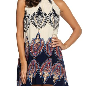 Women's Casual Sleeveless Halter Neck Boho Print Short Dress Sundress. I added a belt to add…, September 13, 2017 at 03:32PM
