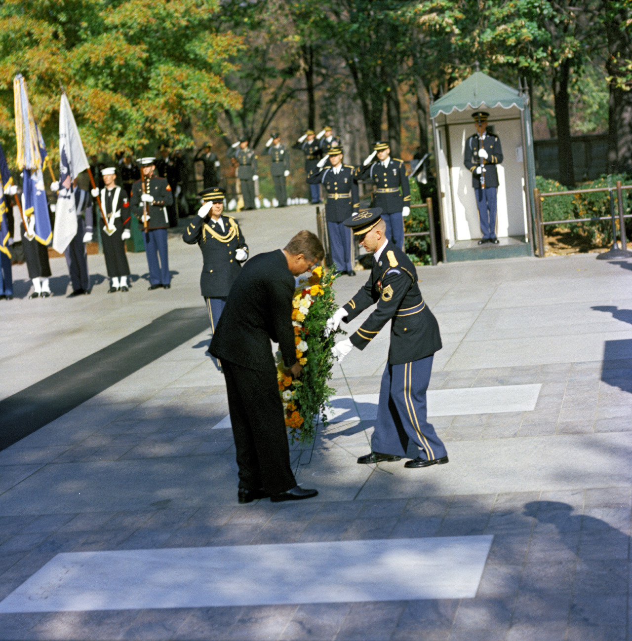 President John F. Kennedy Lays a Wreath at the Tomb of the Unknown Soldier as part of Veterans Day Remembrances, Arlington National Cemetery, Arlington, Virginia, 11/11/1961 Series: Robert Knudsen White House Photographs, 1/20/1961 - 12/19/1963. Collection: White House Photographs, 12/19/1960 - 3/11/1964 (Holdings of the @jfklibrary)