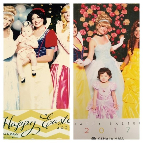 Disney princesses Easter pic at 9 months and 2 years 9 months. Picture not purchased included Emma trying to lift her dress over her head. (at Kahala Mall)
