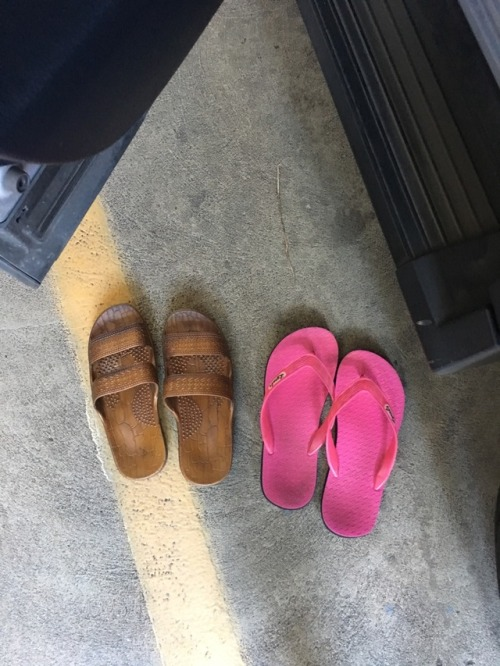 You know you are living in Hawaii when it's March and you jumped into your car barefoot and realized when you got to work that these were your only two shoe options. Thank goodness I have no important meetings today!