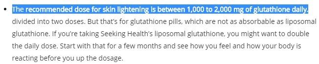 liệu lượng glutathione khuyến cáo
