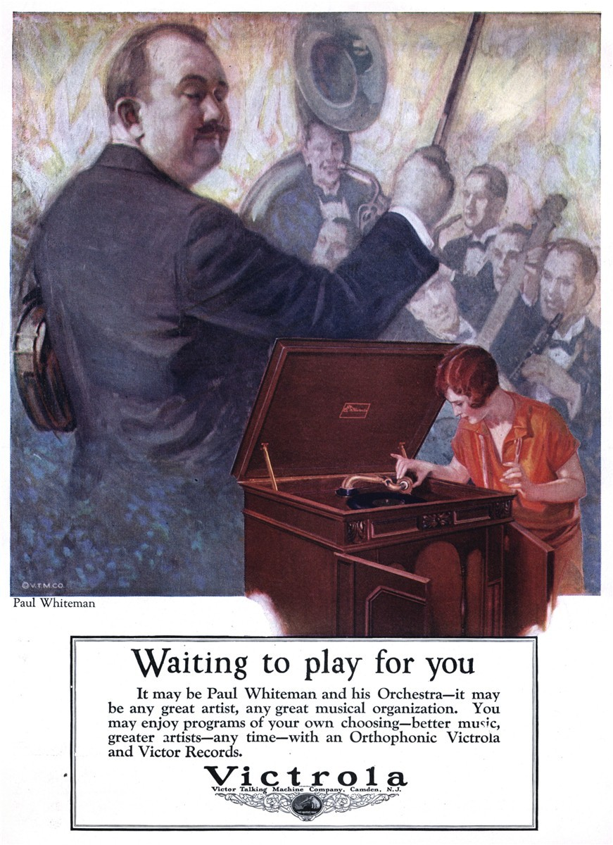 Victrola Talking Machine Company featuring Paul Whiteman - published in Literary Digest - November 28, 1925