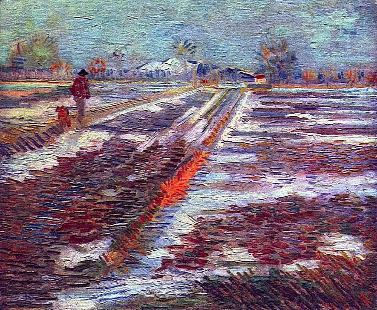 """art-centric:""""Landscape with SnowVincent van Gogh, 1888"""""""