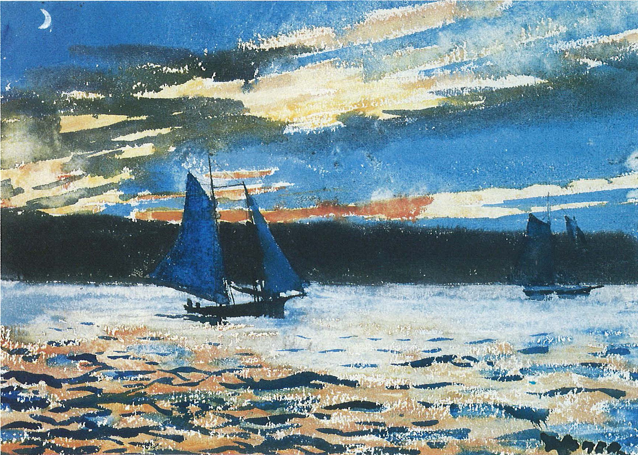 "urgetocreate: ""Winslow Homer, Gloucester Sunset, 1880, Watercolor (Collection of Linda H. Kaufman) """