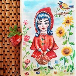 Little Red Riding Hood #art #drawing #illustration #portrait #painting #perthartist #artwork #perthcreatives #perthy #inkdrawing #drawdrawdraw #ideas #watercolors #watercolours #fairytales #littleredridinghood #cuteart #folkart #whimsey