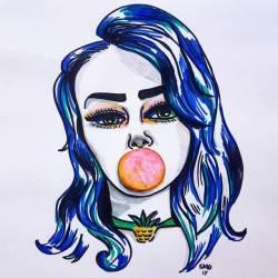 Bubblegum babe #art #drawing #illustration #portrait #sketching #sketch #inkdrawing #inkpen #inkmaster #drawdrawdraw #models #journal #perthcreatives #perthartist #perthstagram