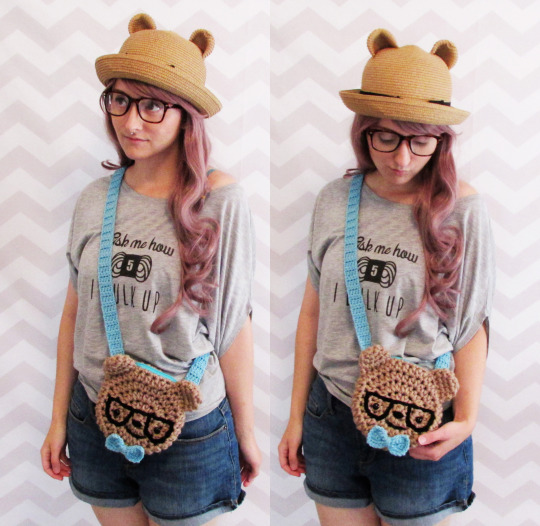 crochet pattern nerdy hipster bear bag