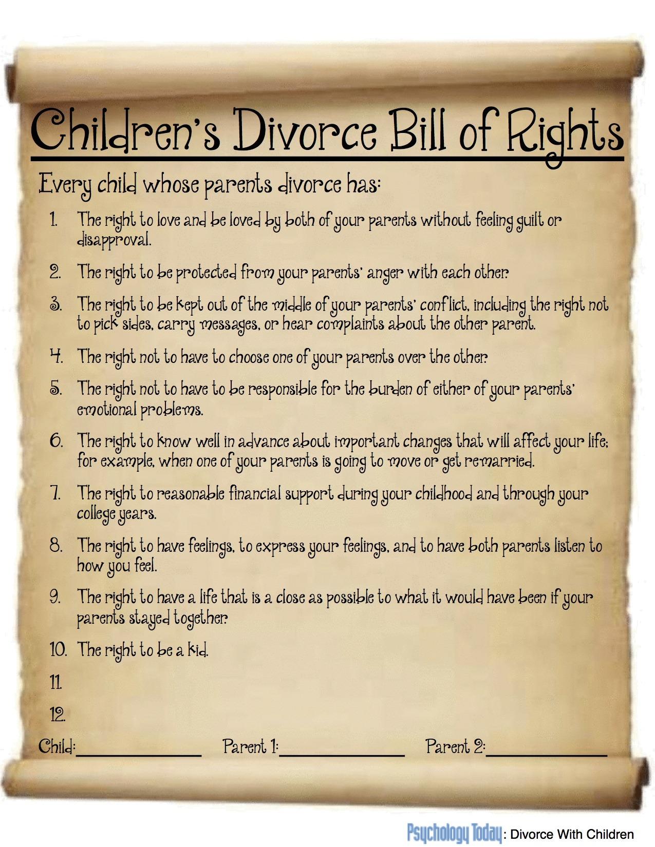 Children S Divorce Bill Of Rights Children Can