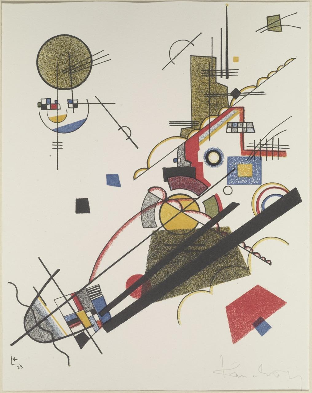 Wassily Kandinsky, Fröhlicher Aufstieg / Happy Ascent, 1923. Meistermappe des Staatlichen Bauhauses. Klassik Stiftung Weimar.