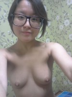 Korean girls with glasses nude selfies showing her hairy pussy leaked 1