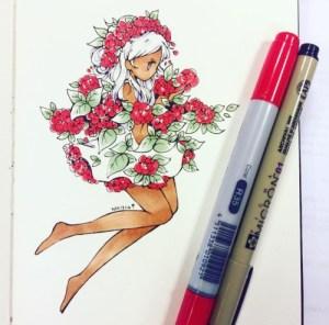 drawings drawing copic kawaii floral doodle marker anime flowers birduyen manga shade pretty gemerkt