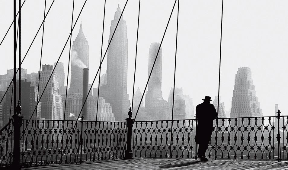 MEZZALUNAME  paul himmel brooklyn bridge view new york 1950