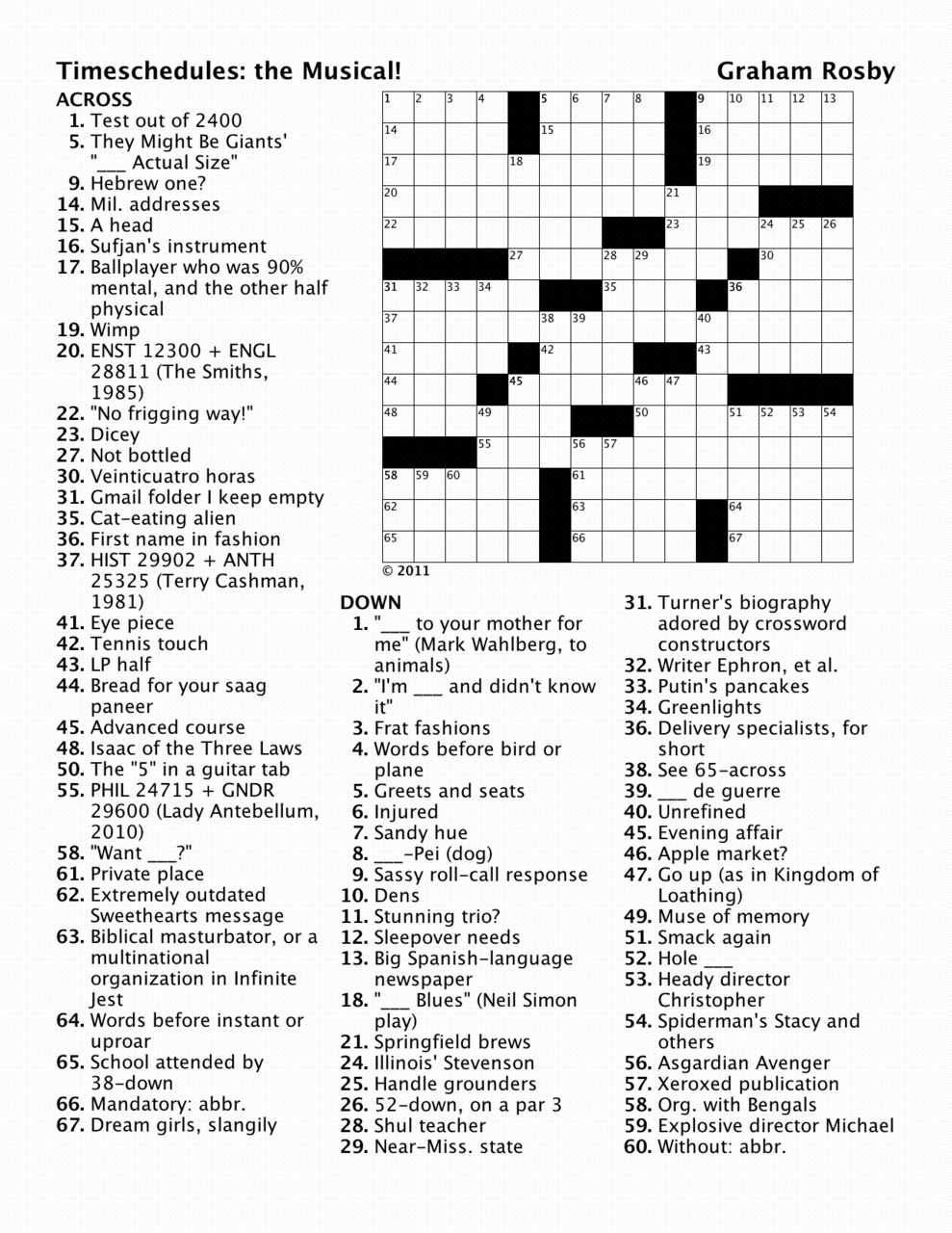 Crosswords by Graham Meyer Rosby — Puzzle for February 19