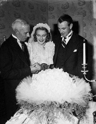 "Gary Cooper at the wedding of Howard Hawks to ""Slim"" Nancy Gross, four days after Pearl Harbor."
