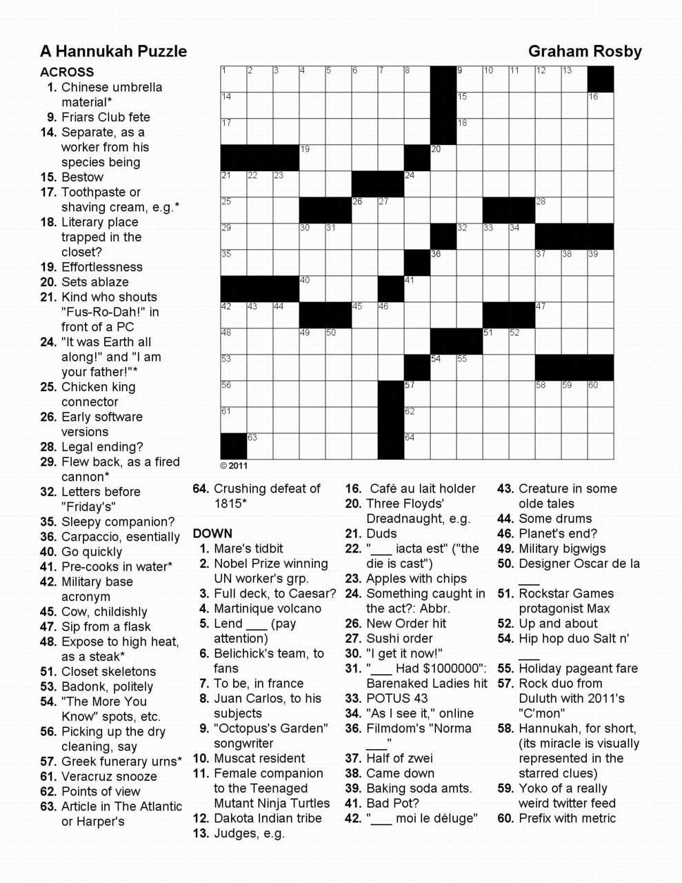 Crosswords by Graham Meyer Rosby — What I love about