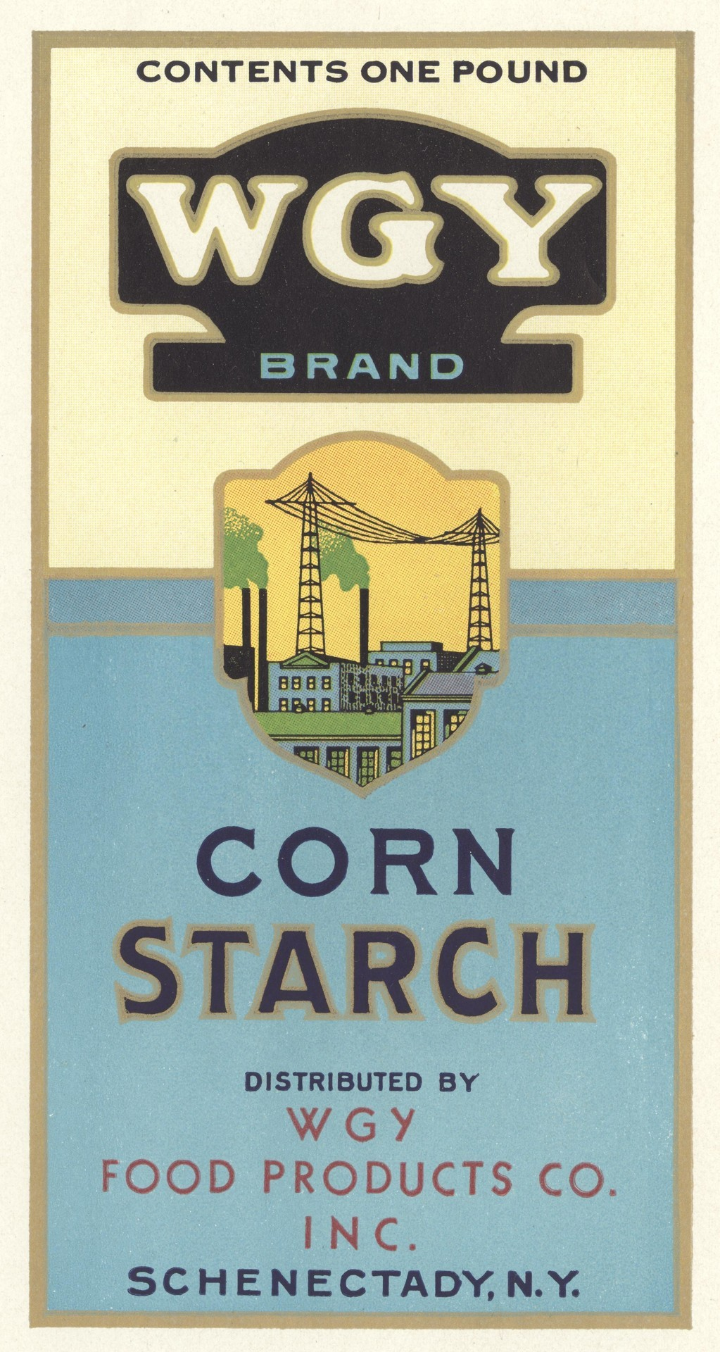 WGY Brand Corn Starch label - 1930s